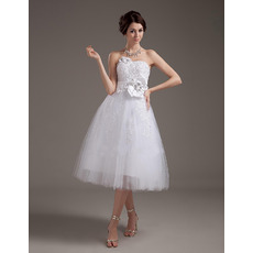 Romantic Spring A-Line Knee Length Tulle Wedding Dresses with Beaded Applique