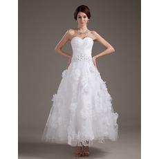 Romantic Stylish A-Line Applique Ruched Tea Length Reception Wedding Dresses