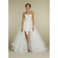 Modern Sheath Sweetheart Pleated Layered Tulle High-Low Wedding Dresses