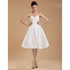 Simple Informal Halter Knee Length Ruched Taffeta Reception Wedding Dresses