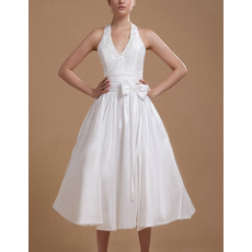 Sexy Beaded Appliques A-Line Halter V-neck Tea Length Pleated Taffeta Wedding Dresses