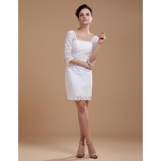 Elegant Spring Column Square Lace Short Wedding Dresses with Half Sleeves