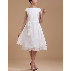 Simple A-Line Knee Length Cap Sleeves Chiffon Reception Wedding Dresses