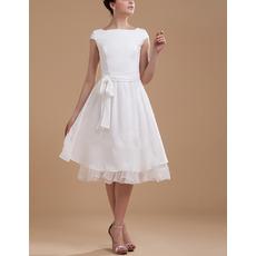Simple A-Line Knee Length Cap Sleeves Chiffon Reception Wedding Dresses