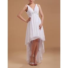 Beautiful Beaded Empire V-Neck Chiffon High-Low Summer Beach Wedding Dresses