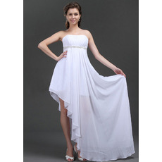 Stylish A-Line Strapless White Chiffon Asymmetric Wedding Dresses