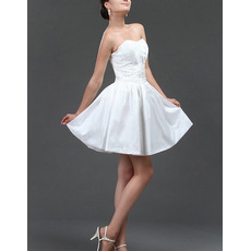 Simple A-Line Beaded Pleated Taffeta Short Reception Wedding Dresses