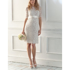 Elegant Sheath/Column Knee Length Reception Lace Wedding Dresses with Short Sleeves