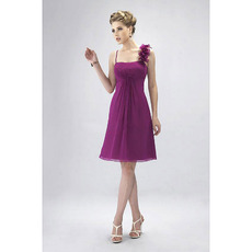 Romantic Asymmetric Spaghetti Straps Knee Length Chiffon Bridesmaid Dresses for Wedding Party