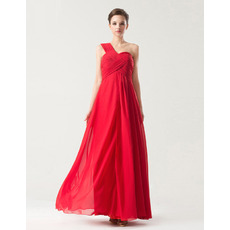 Excellent Empire One Shoulder Ankle Length Chiffon Bridesmaid Dresses