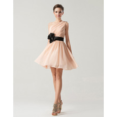 Short Summer A-Line One Shoulder Knee Length Chiffon Bridesmaid Dresses