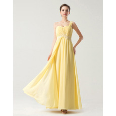 Discount Empire One Shoulder Anke Length Ruched Chiffon Bridesmaid Dresses with Split Front