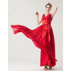 Chic Empire V-Neck Floor Length Chiffon Bridesmaid Dresses
