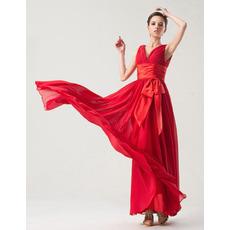 Chic Empire V-Neck Floor Length Chiffon Bridesmaid Dresses