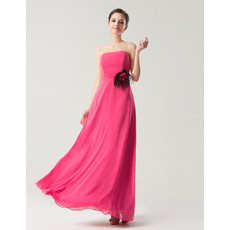 Fall Empire Strapless Floor Length Chiffon Bridesmaid Dresses