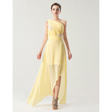 Spring/ Summer Sheath One Shoulder Asymmetric Chiffon Bridesmaid Dresses