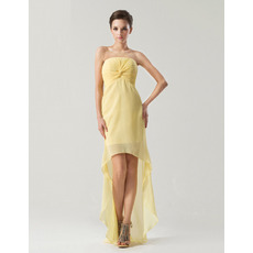 Chic Sheath/ Column Strapless High-Low Chiffon Bridesmaid Dresses
