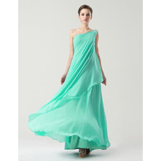 Sweety Sheath/Column One Shoulder Floor Length Chiffon Bridesmaid Dresses