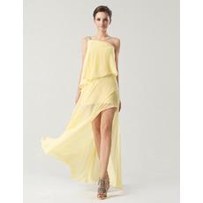 Designer Sheath/Column One Shoulder Floor Length Chiffon Bridesmaid Dresses