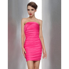 Summer Sheath/ Column Strapless Mini/Short Tiered Bridesmaid Dresses