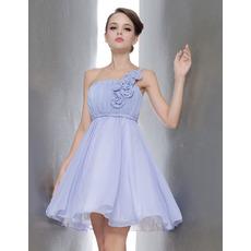 Nice Princess A line One Shoulder Mini/Short Chiffon Empire Bridesmaid Dresses