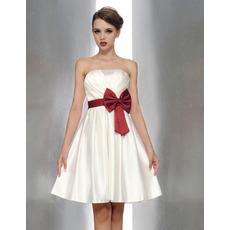 Affordable Princess A-line Strapless Mini/Short Satin Bridesmaid Dresses with Sas