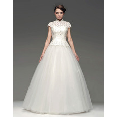 Winter Ball Gown Stand Collar Floor Length Organza Lace Wedding Dresses
