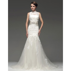 Chic Mermaid/ Trumpet Strapless Floor Length Satin Organza Empire Wedding Dresses with Jackets