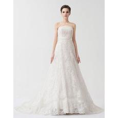 Vintage A-Line Strapless Floor Length Lace Satin Wedding Dresses