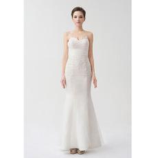 Newest Mermaid/ Trumpet Sweetheart Ankle Length Wedding Dresses for Spring Wedding
