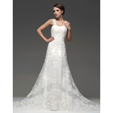 Stylish A-Line Straps Floor Length Organza Satin Wedding Dresses