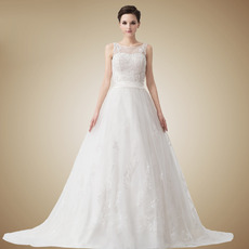 Fahionable Vintage A-Line Bateau Floor Length Organza Satin Wedding Dresses