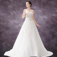 Vintage A-Line One Shoulder Floor Length Satin Organza Wedding Dresses