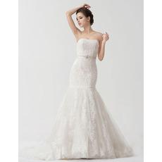 Sexy Mermaid/ Trumpet Strapless Floor Length Satin Organza Wedding Dresses