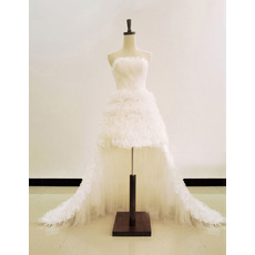 Special and Beautiful A-Line Strapless Mini/ Short Wedding Dresses with Detachable Train