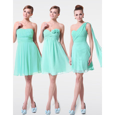 Delicate A-Line Short Custom Neckline Chiffon Bridesmaid Dresses for Wedding Party