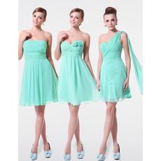 Delicate A-Line Short Custom Neckline Chiffon Bridesmaid Dresses for Wedding Party