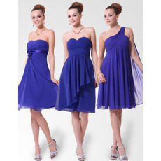 Empire Custom Neckline Knee Length Chiffon Bridesmaid Dresses for Spring/ Summer Wedding