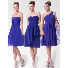 Empire Custom Neckline Knee Length Chiffon Bridesmaid Dresses for Spring/ Summer Wedding