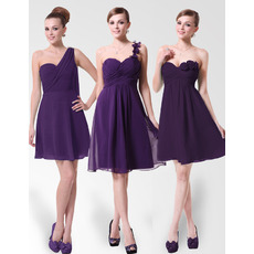 Designer A-Line Short Purple Chiffon Bridesmaid Dresses for Summer Wedding