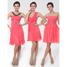 Chic and Discount Empire Short/ Mini Chiffon Bridesmaid Dresses for Summer