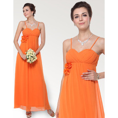 Empire Waist Spaghetti Straps Ankle Length Chiffon Bridesmaid Dresses