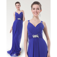 Eleagnt Sheath/ Column Straps Floor Length Blue Chiffon Bridesmaid Dresses