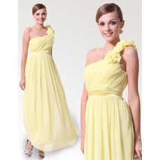 Sexy Sheath/ Column One Shoulder Ankle Length Chiffon Spring Bridesmaid Dresses