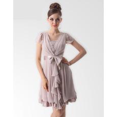 Sexy A-line V-Neck Short/ Mini Chiffon Bridesmaid Dresses for Spring/Summer Wedding