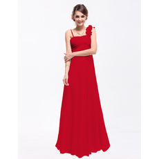 Inexpensive Empire Asymmetric Neck Floor Length Chiffon Bridesmaid Dresses with Ruched Bodice