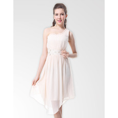 New Style Sheath One Shoulder Knee Length Chiffon Bridesmaid Dresses