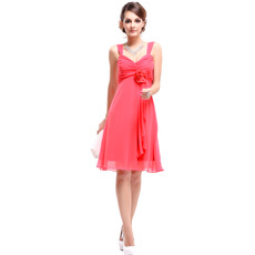 Spring/ Summer Empire Straps Knee Length Chiffon Bridesmaid Dresses