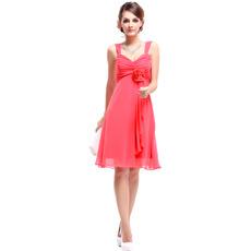 Spring/ Summer Empire Straps Knee Length Chiffon Bridesmaid Dresses