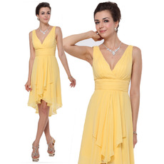 Chic Sheath V-Neck Knee Length High-Low Ruched Chiffon Bridesmaid Dresses